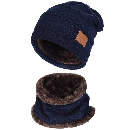 e61855445d3 Vbiger - Unisex Knitted hat-Vbiger Mens Womens Warm Knitted Hat and Circle  Scarf with Fleece Lining 2 Pieces Set Winter Autumn Warm Hat Scarf -  Walmart.com