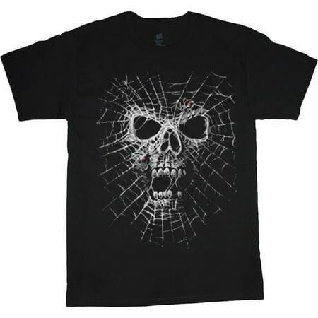 Skull Death Spade T-shirt Top - Spider web skull T-shirt Men's Tee Black