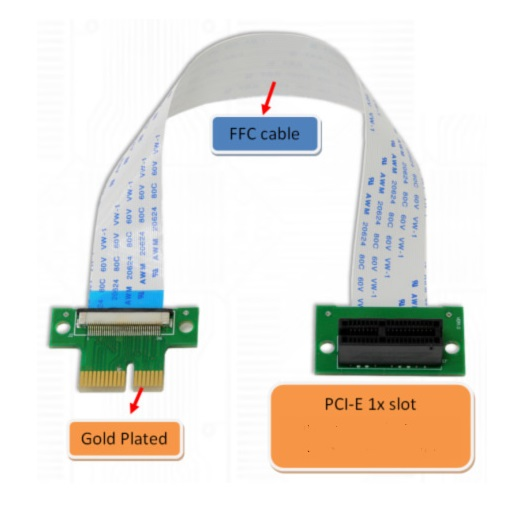 PCI-e Express 1X Riser Extender Card with High Speed Flexible Cable