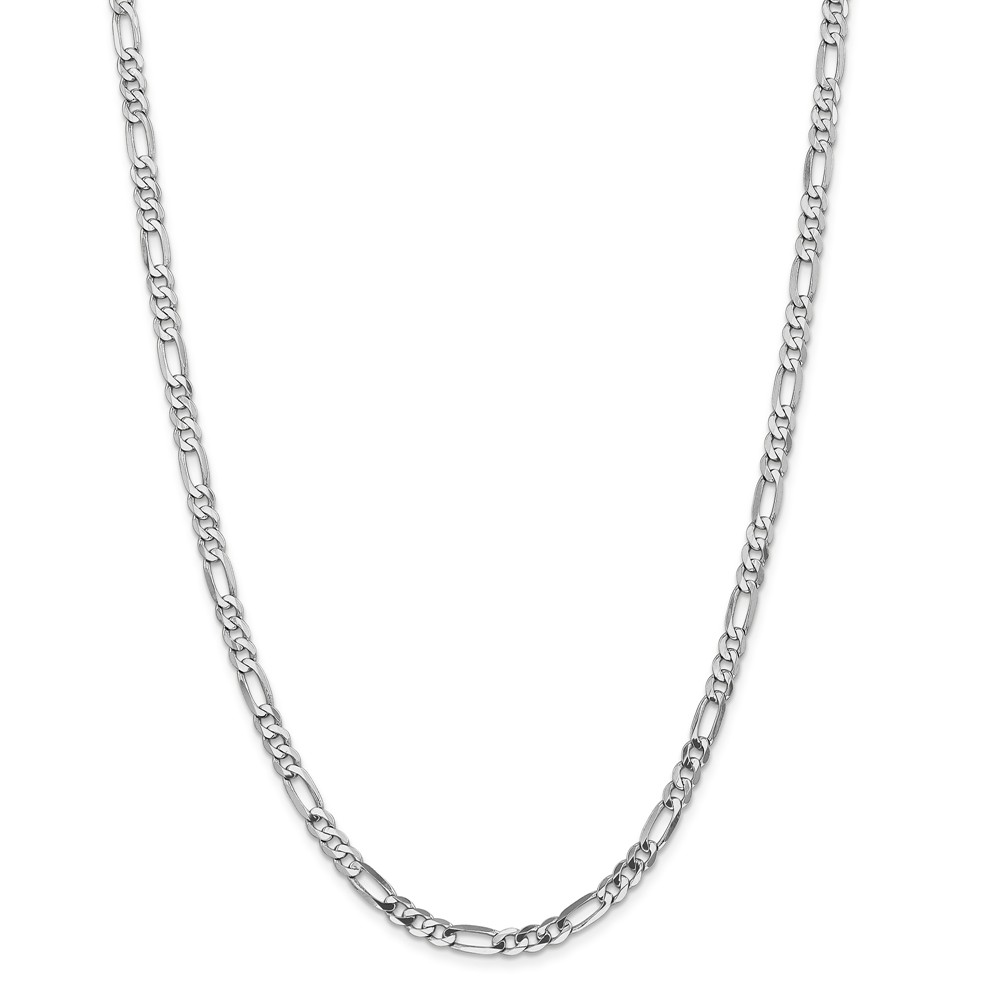 """14K White Gold 5.0mm Flat Figaro Necklace Chain -7"""" (7in x 5mm) by"""