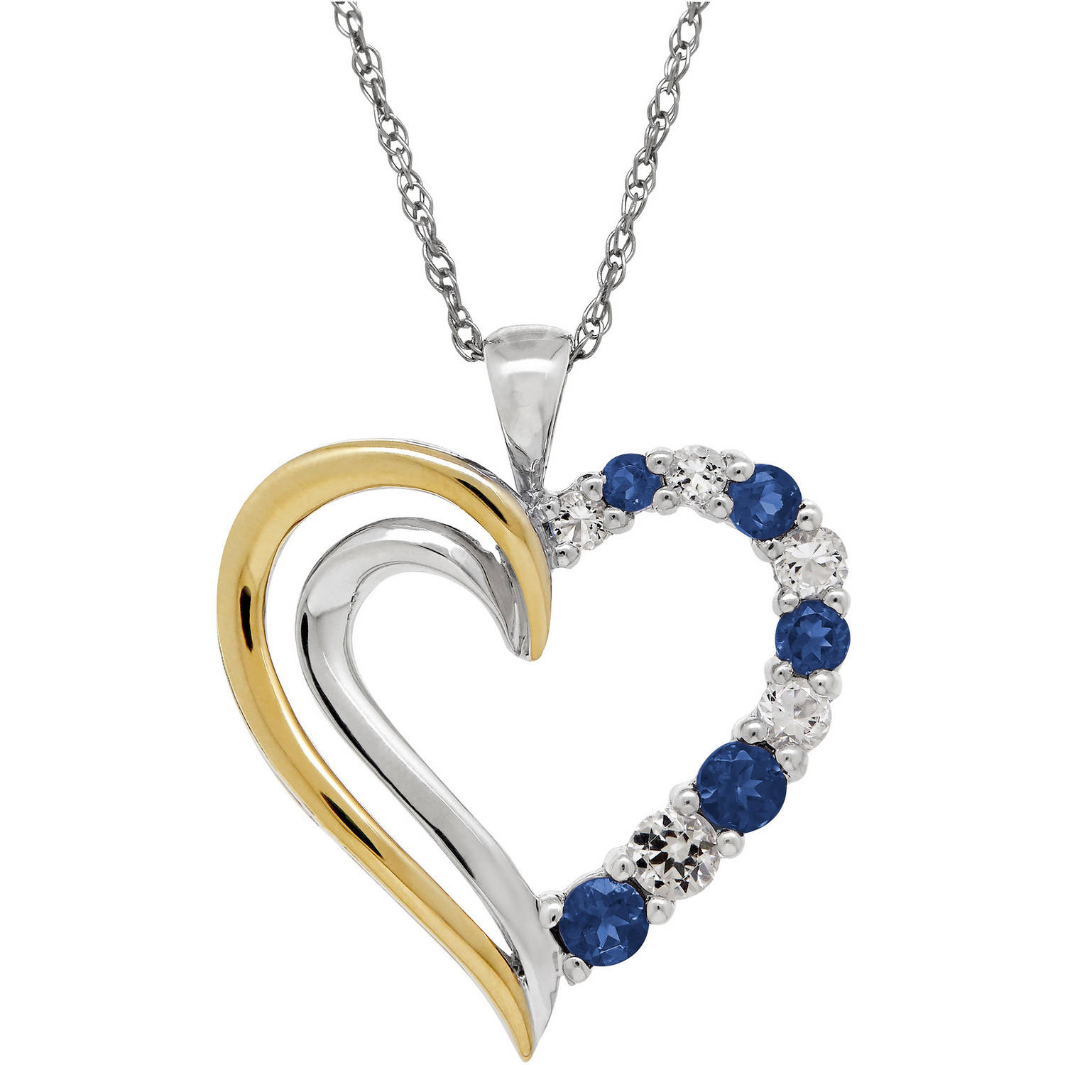 Duet Created Blue Sapphire with White Topaz Sterling Silver and 10kt Yellow Gold Open Heart Pendant, 18""
