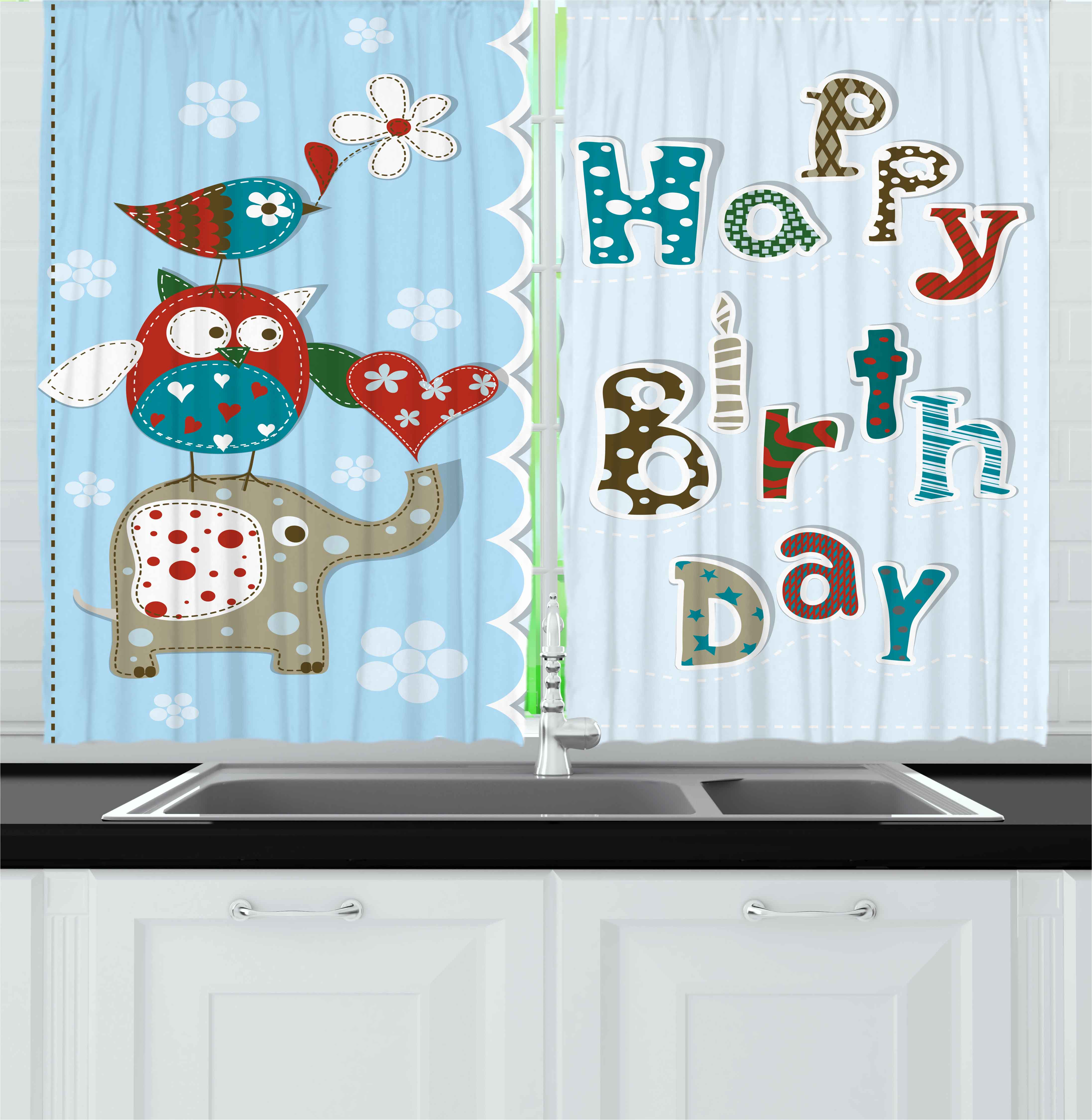 Kids Birthday Curtains 2 Panels Set, Patchwork Inspired Design With Owl  Birds Elephant And Flowers, ...