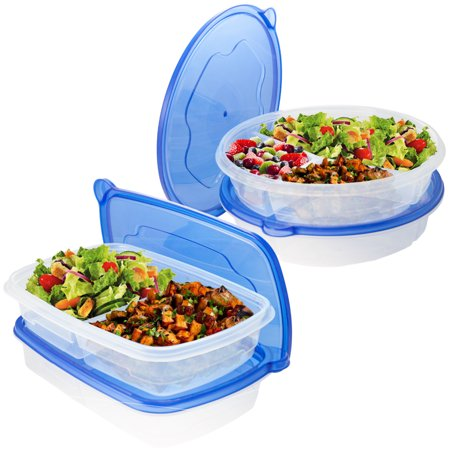 8pc BPA Free Food Storage Container Lunch Airtight With Divider Kitchen (Lunch Box Containers)