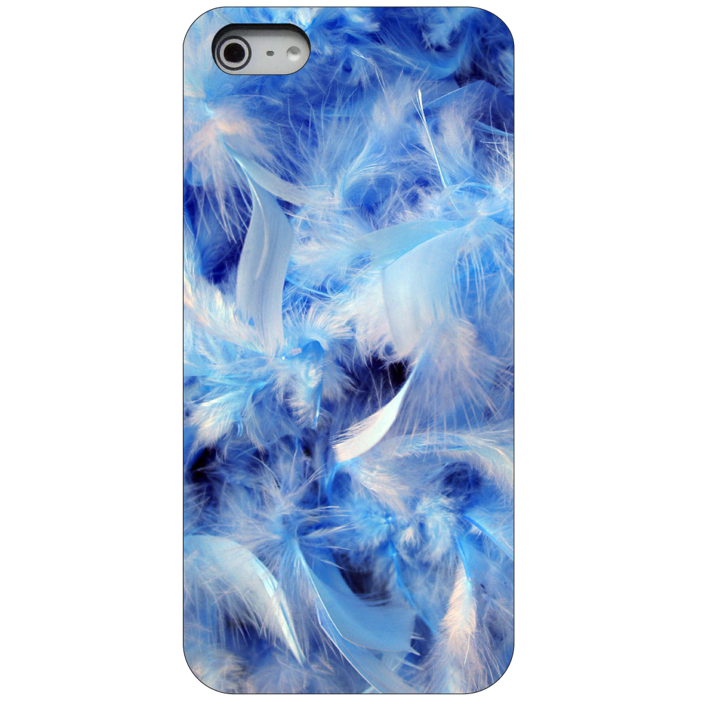CUSTOM Black Hard Plastic Snap-On Case for Apple iPhone 5 / 5S / SE - Blue Feathers