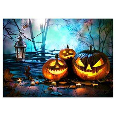 ABPHOTO Polyester Photography Background Photo Backdrops Magic Theme Horror night fog branches, wooden floor, fallen leaves, pumpkin lights, candles for Halloween - List Halloween Horror Nights Themes