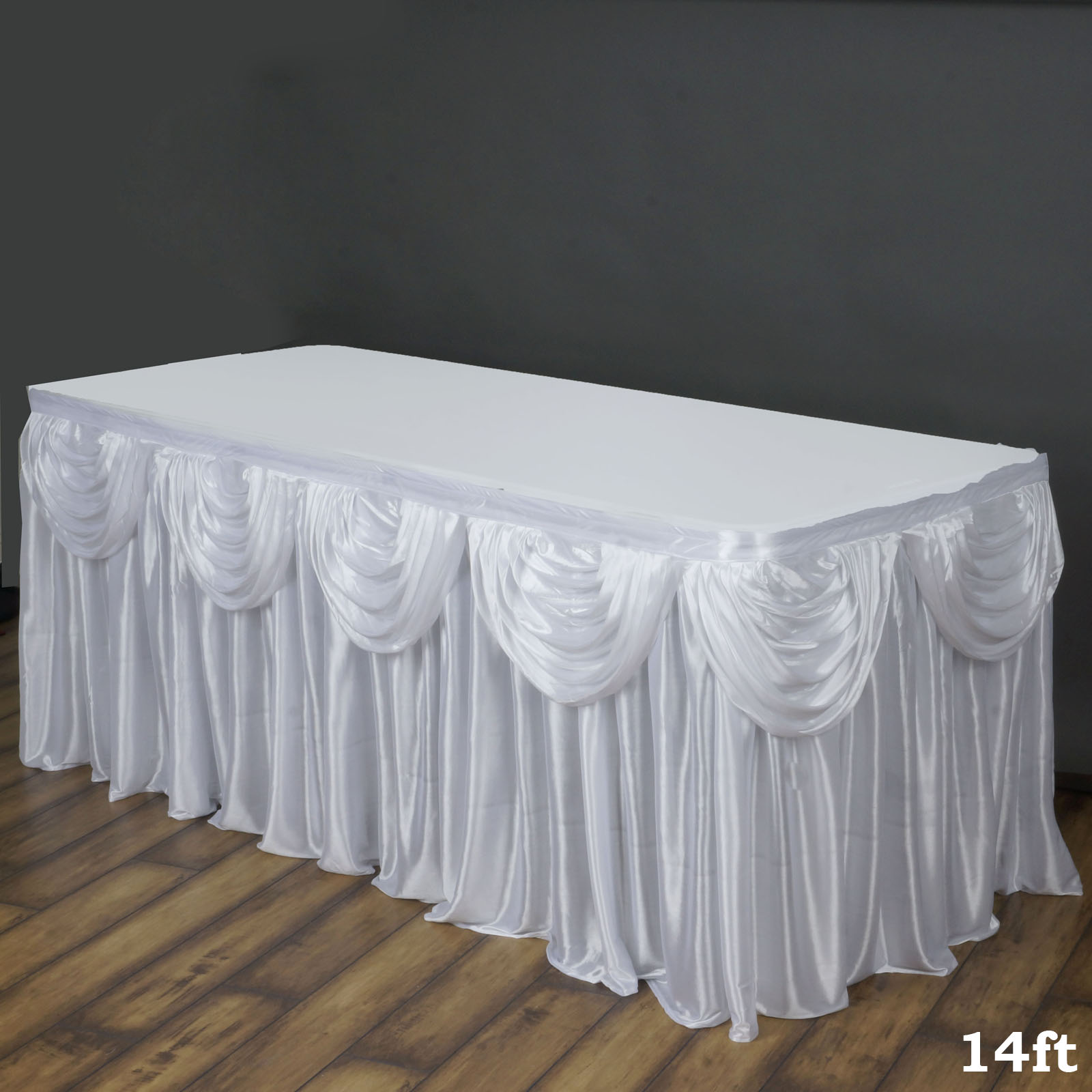 Walmart & Efavormart Satin Double Drape Table Skirt Table Covers For Rectangle Or Round Tables 14Ft