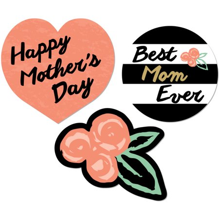 Best Mom Ever - Mother's Day DIY Shaped Party Cut-Outs - 24