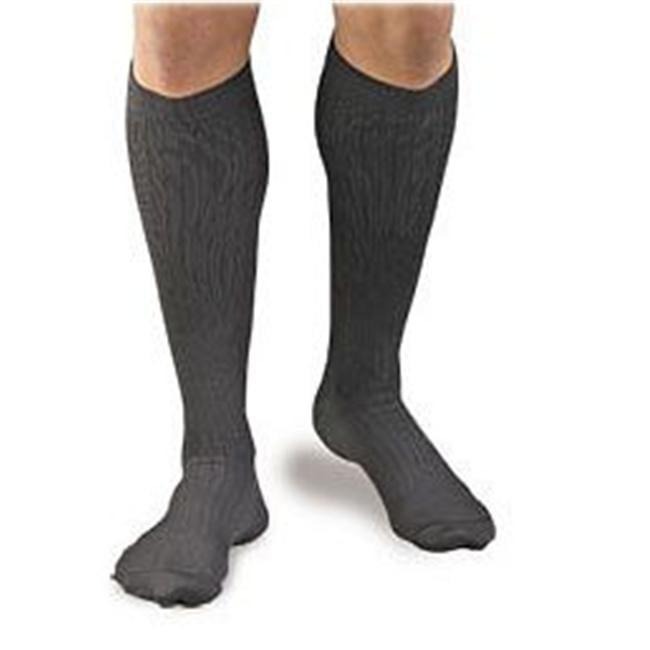 Activa H3463 Mens Microfiber Pinstripe Dress Socks 20-30 mmHg - Size & Color- Large Black