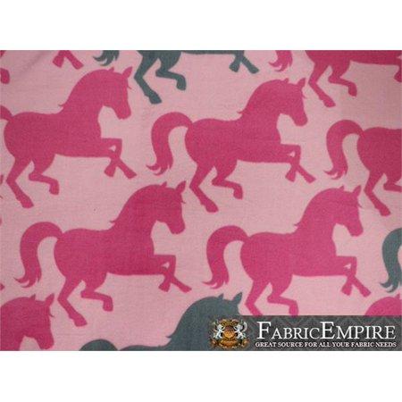 Mountain Horse Diamond Fleece - Fleece Fabric Printed ANTI PILL PINK GRAY HORSES BABY PINK BACKGROUND