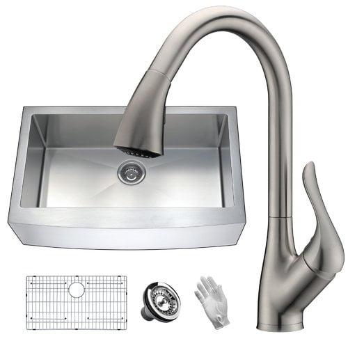 Anzzi Elysian 36 X 21 Farmhouse Kitchen Sink With Faucet Walmart Com Walmart Com