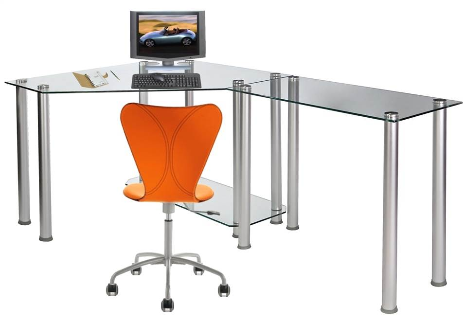 Merveilleux Corner Computer Desk With Glass Top Work Center Arm