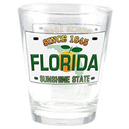 Florida Sunshine State License Plate Shot Glass