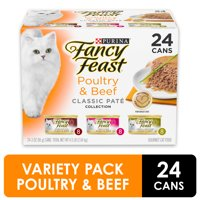 (24 Pack) Fancy Feast Grain Free Pate Wet Cat Food Variety Pack, Poultry & Beef Collection, 3 oz. Cans