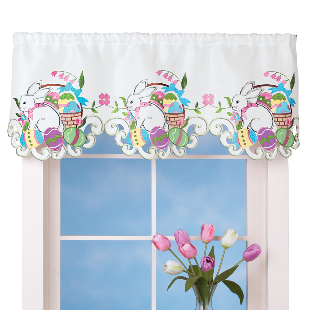 Easter Bunny Curtain Valance Decoration for the Home, Party, Indoor