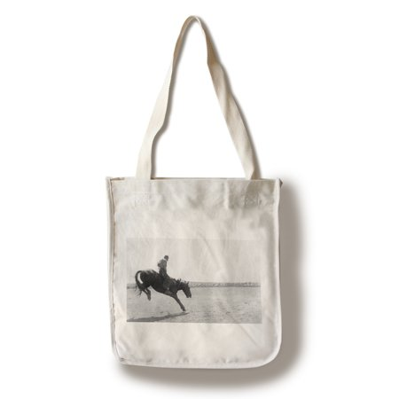 Horse Bag (Alturas, California - View of a Cowboy on a Bucking Horse at Round-Up (100% Cotton Tote Bag -)