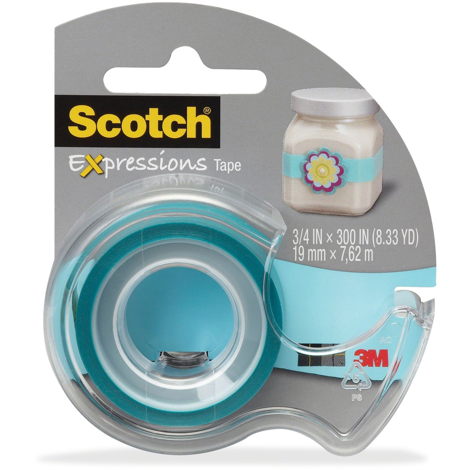 "Scotch Expressions Magic Tape with Dispenser, 3/4"" x 300"", Turquoise"