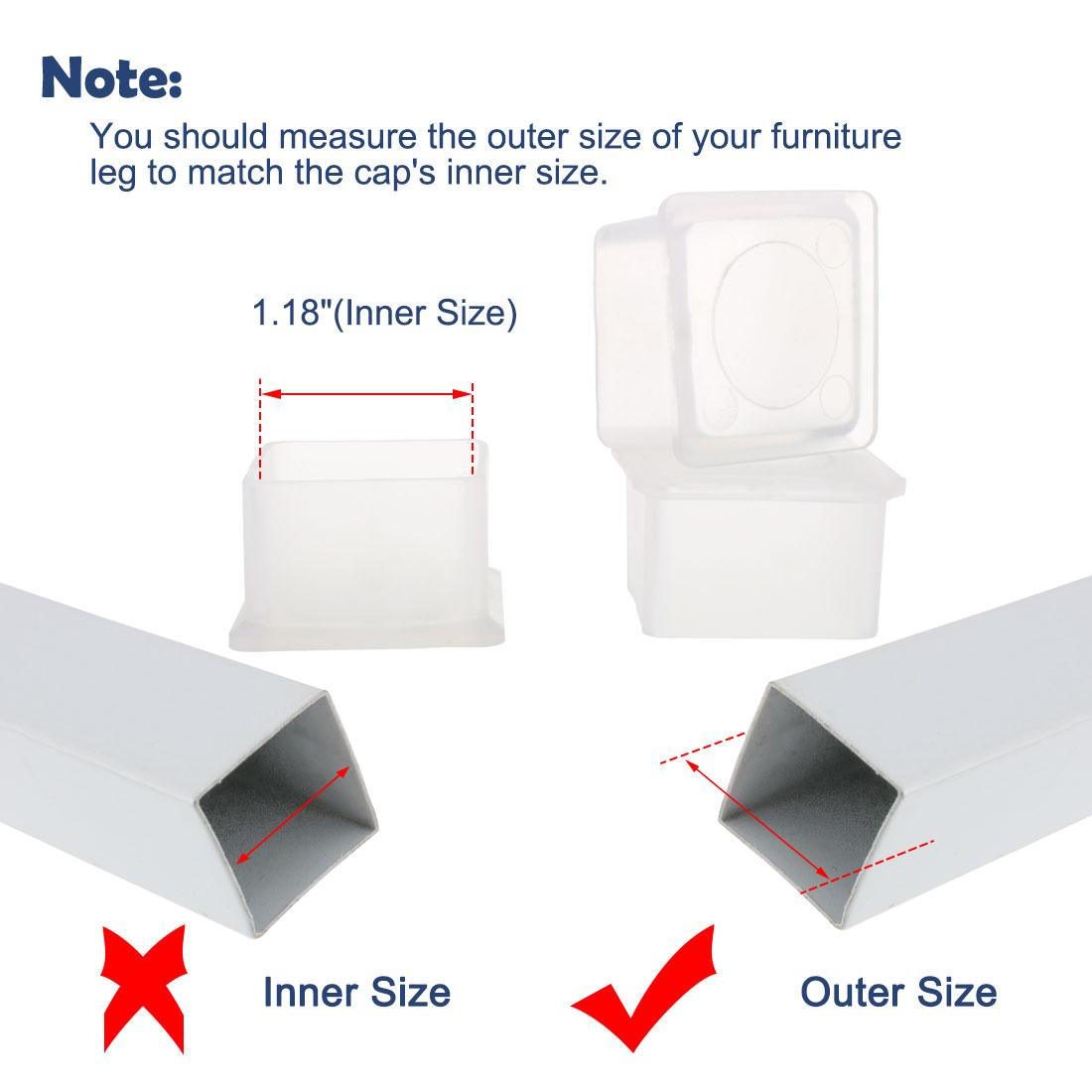 "Clear Chair Leg Caps Furniture Slider Floor Protector 4pcs 1.18""x1.18"" (30x30mm) - image 1 de 7"