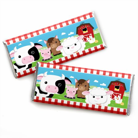 Farm Animals - Candy Bar Wrappers Baby Shower or Birthday Party Favors - Set of 24
