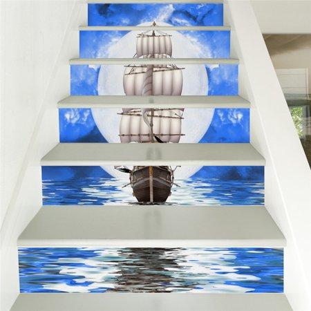 Stair Wall Sticker Home Decor DIY Rivers Landscape Theme Decor Sticker Wall Paper - image 2 de 4