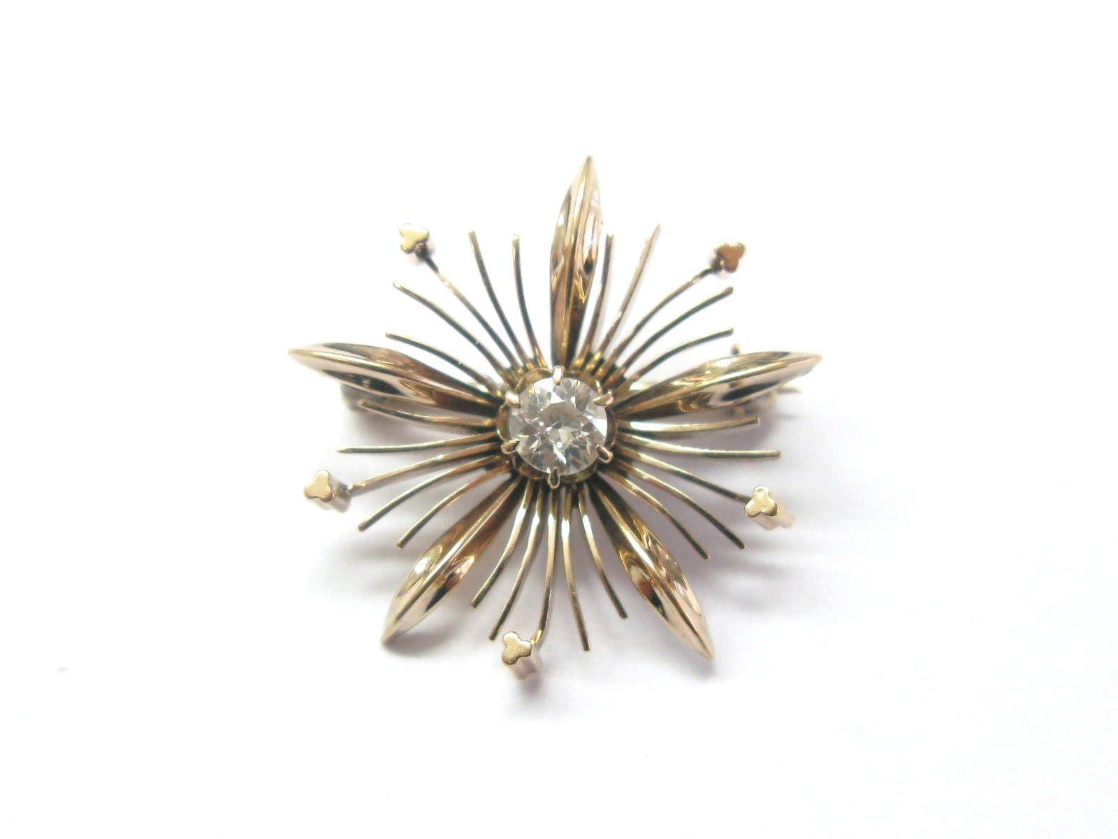 Fine Old European Diamond Vintage Pin   Brooch ROSE GOLD .35CT by