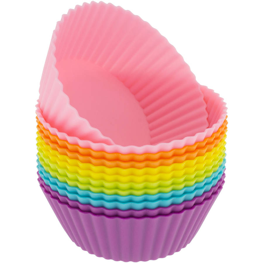 Freshware 12-Pack Mini Round Reusable Silicone Baking Cup, Rainbow Colors, CB-304SC