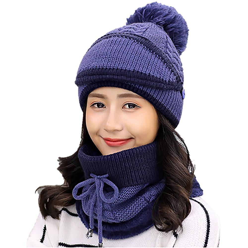 Adult Women Men Winter Earmuffs Knit Hat Scarf Hairball Warm Cap Black