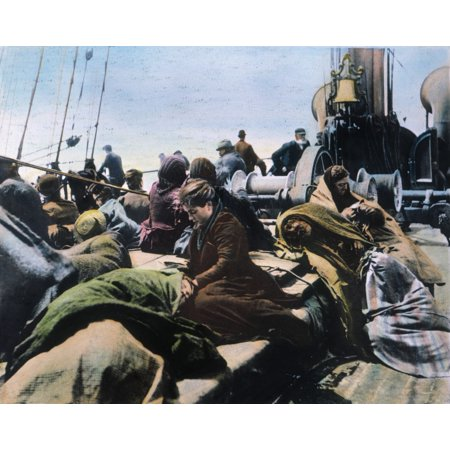 Immigrants On Ship C1900 Neuropean Immigrants On The Steerage Deck Of The SS Pennland In New York Harbor Oil Over A Photograph C1900 Rolled Canvas Art -  (24 x 36)
