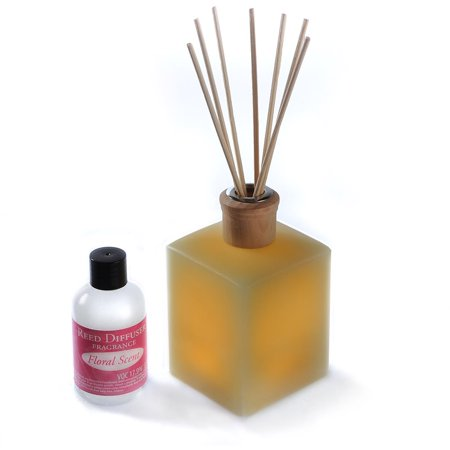 - CandleTEK Decor Fluted Flameless Candle Reed Diffuser, Fresh Floral Scent