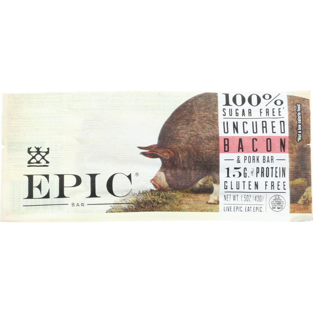Epic Uncured Bacon & Pork Bar, 1.5 Oz (Pack Of 12)