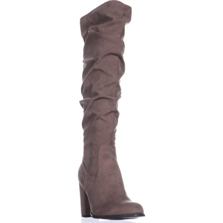 7a54fb5c008 Womens madden girl Cinder Knee-High Slouch Boots, Dark Taupe, 9 US