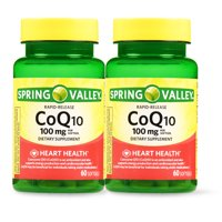 Spring Valley CoQ10 Rapid Release Softgels, 100 mg, 60 Count, 2 Pack