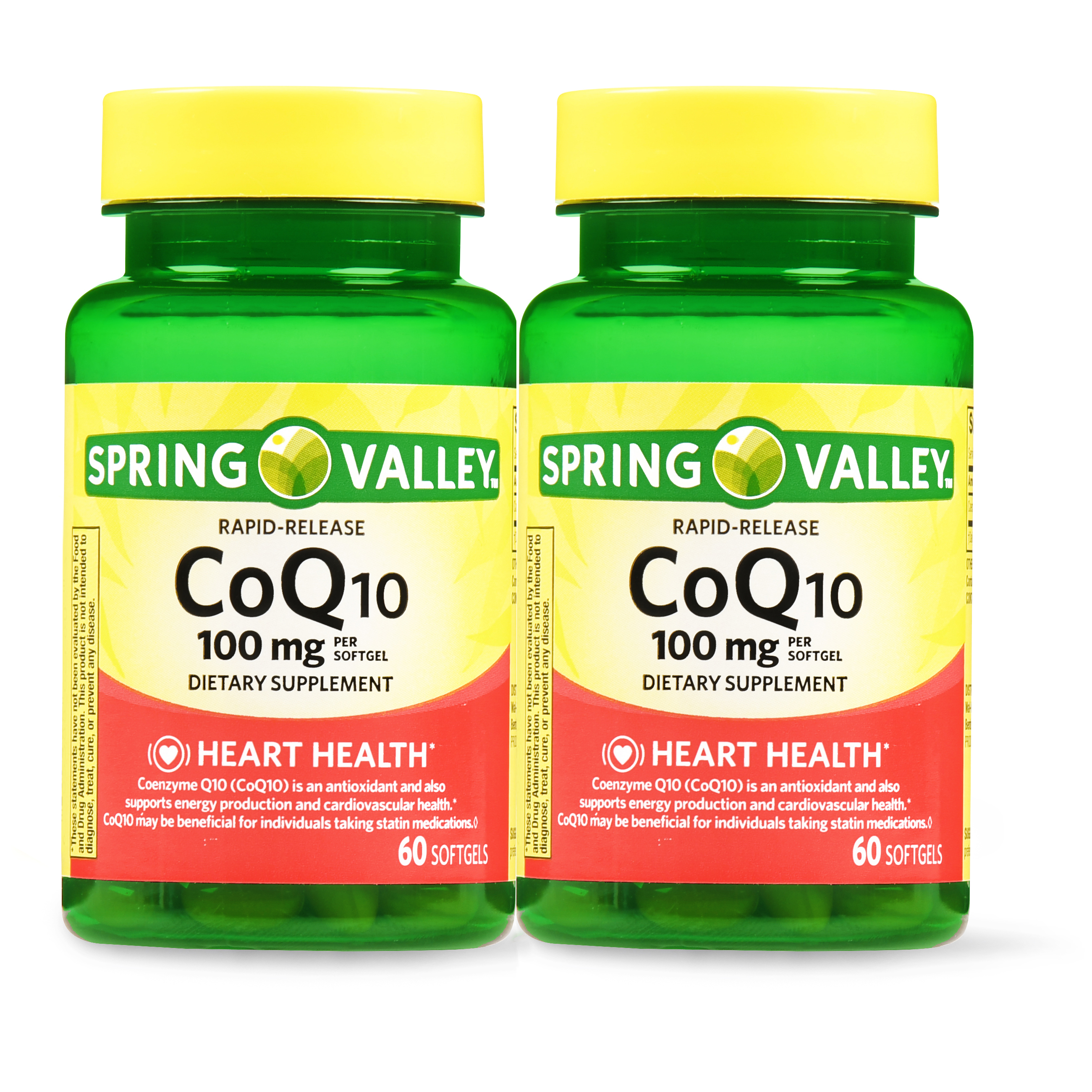 Spring Valley CoQ10 Rapid Release Softgels, 100 mg, 60 Ct, 2 Pk