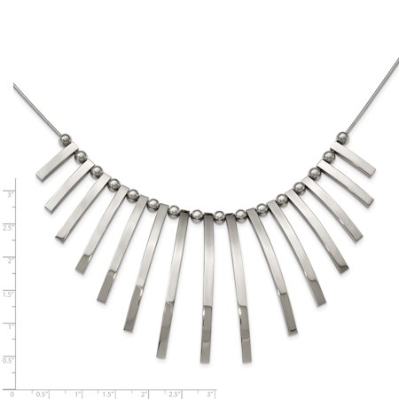 Stainless Steel Polished Bars and Beads with 2in Extender Necklace 19in - image 3 de 3