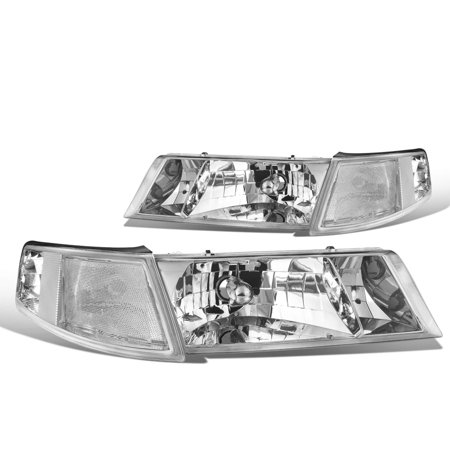 For 1998 to 2002 Mercury Grand Marquis Headlight Chrome Housing Clear Corner Headlamp 99 00 01 Left+Right