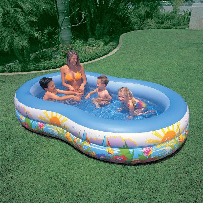 Intex 8.6' x 5.25' x 1.2' Paradise Lagoon Inflatable Kiddie Swimming Pool by Intex Recreation Corp.