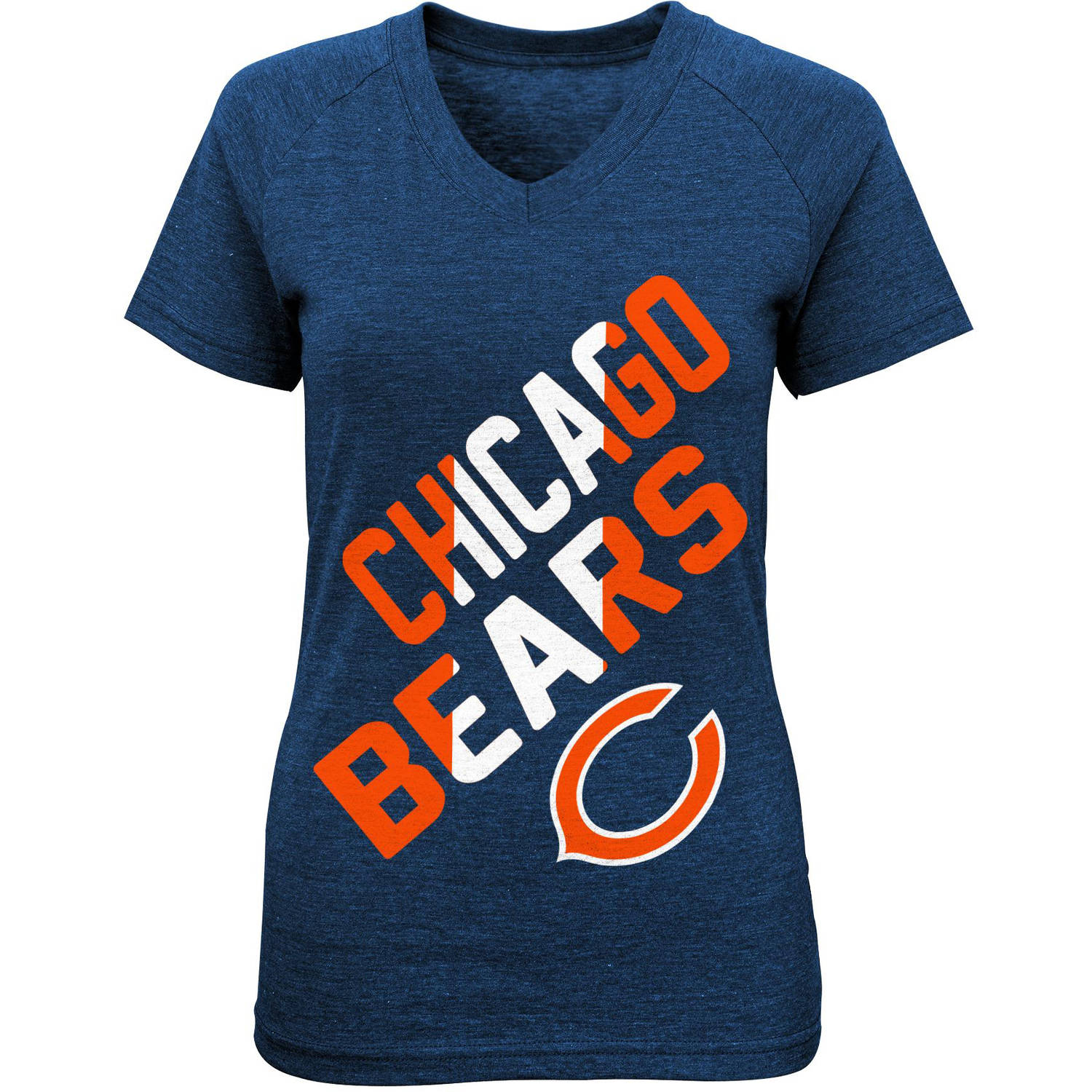 NFL Girls Bears Short Sleeve Triblend Tee With Team Screenprint