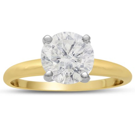 Si2 18k Yellow Gold Solitaire (2.00 Carat Round Cut Diamond Yellow Gold Solitaire Engagement Ring H-I Color SI2 Clarity Size 5 )