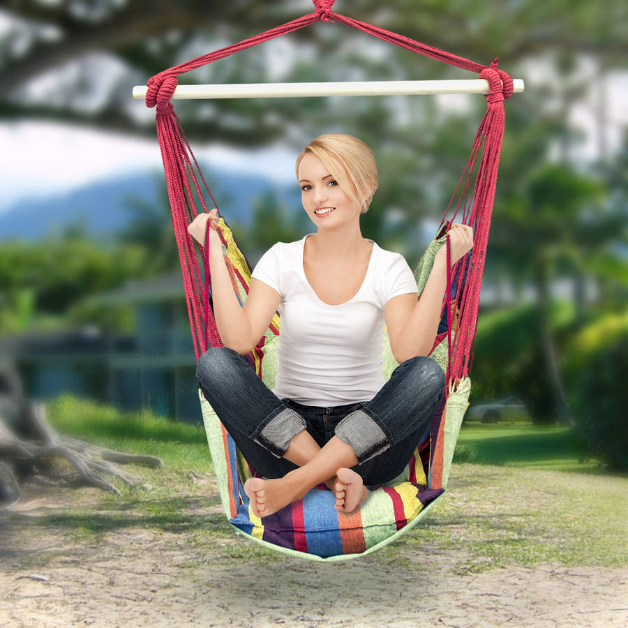 Sorbus Hanging Rope Hammock Chair Swing Seat for Any Indoor or Outdoor Spaces, 2 Seat Cushions Included, Muti-Color