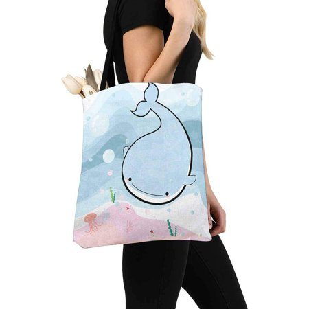 HATIART Funny Comic Sea Whale and Jelly Fish in the Ocean Canvas Tote Bag Resuable Grocery Bags Shopping Bags Perfect for Crafting Decorating for Women Men Kids - image 3 of 3