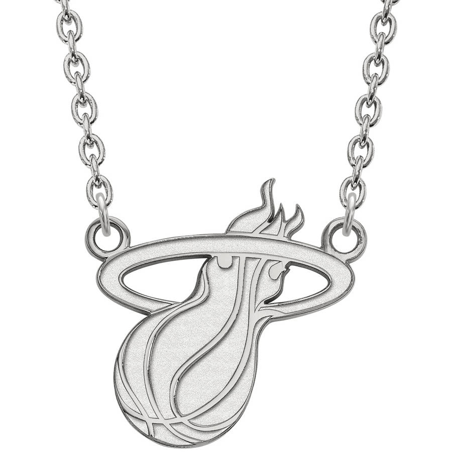 LogoArt NBA Miami Heat 14kt White Gold Large Pendant with Necklace