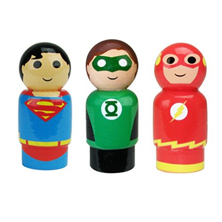 Bif Bang Pow! DC Comics Justice League Superman, The Flash, Green Lantern Pin Mate Wooden Figure Set of 3 Collectible, 2