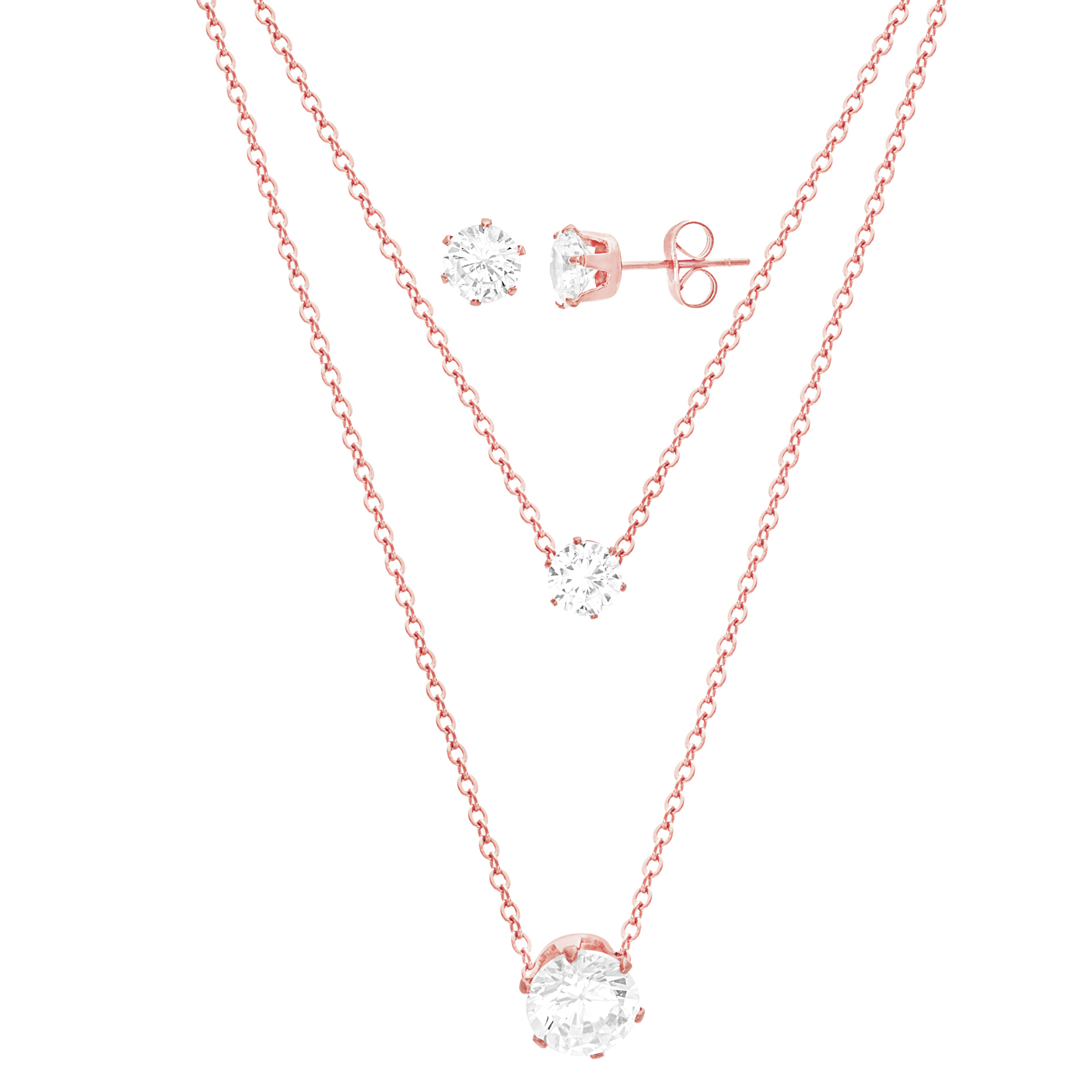 Rose-Tone Stainless Steel Two Strand Round Cubic Zirconia Station Necklace and Post Earrings Set