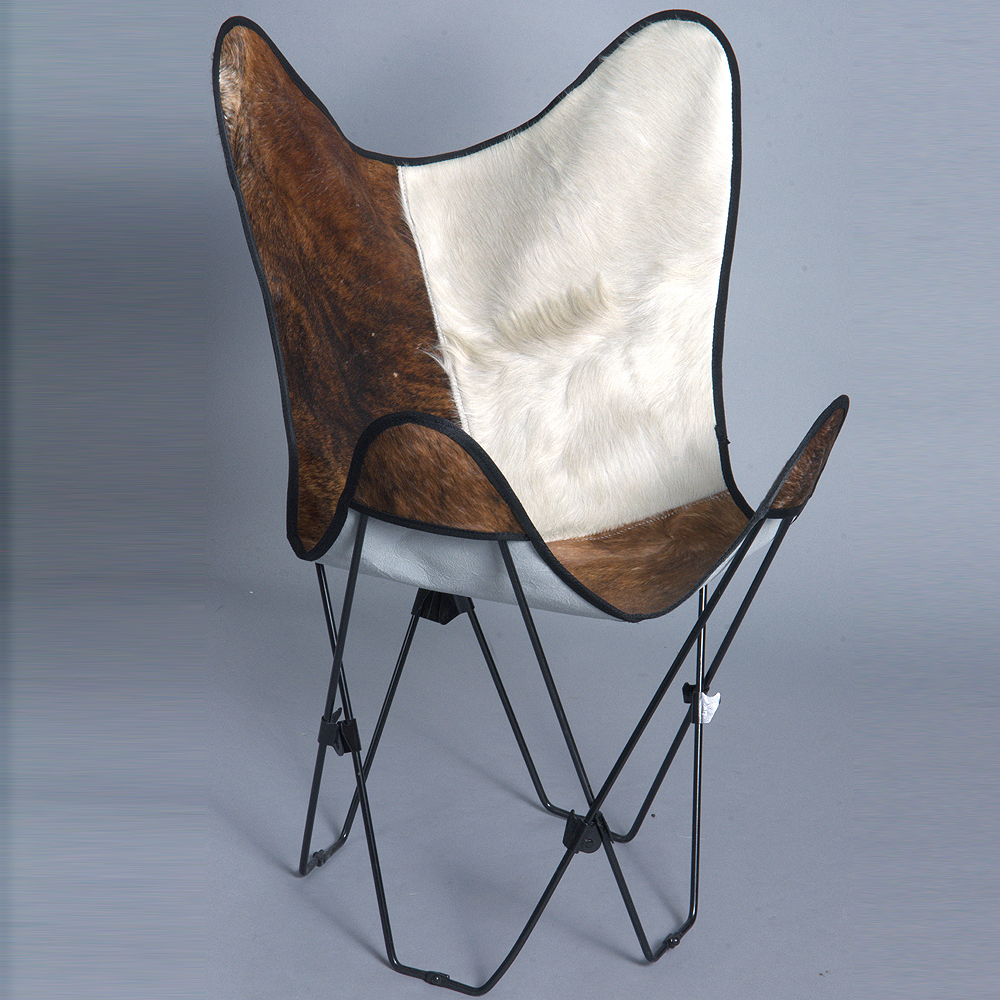 MADE IN USA GENUINE LEATHER BUTTERFLY CHAIR FOLDING LOUNGE MODERN SLING SEAT
