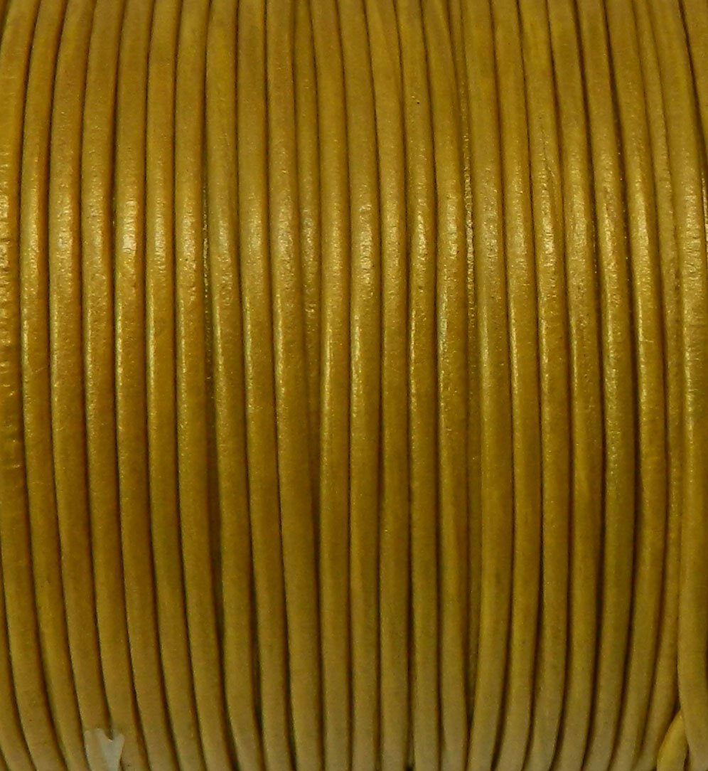 Imported India Leather Cord 2mm Round 5 Yards Metallic Goldenrod by