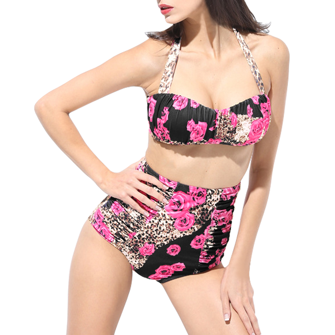 Women Floral Bandeau High Waist Bikini Ruched Retro Halter Swimsuit