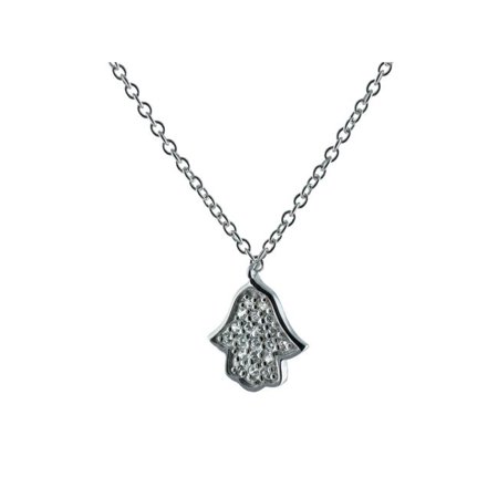 Fronay 211485 15.5 & 1.5 in. Slender Rhodium Plated Sterling Silver White CZ Hamsa Necklace - image 1 de 1