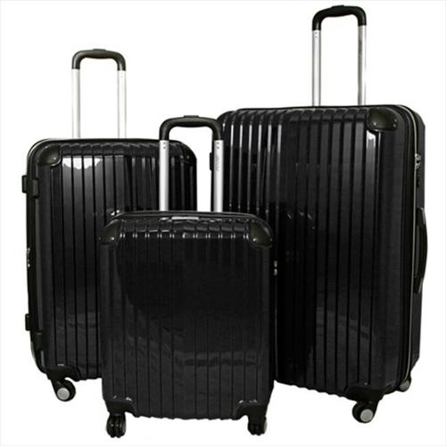 American Green Travel 867295-BLACK TSA Lock Hardside Spinner Luggage Set, Black - 3 Piece