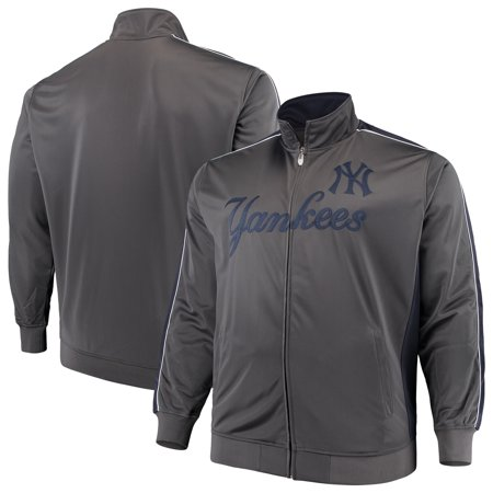 New York Yankees Majestic Big & Tall Full-Zip Tricot Jacket - Charcoal