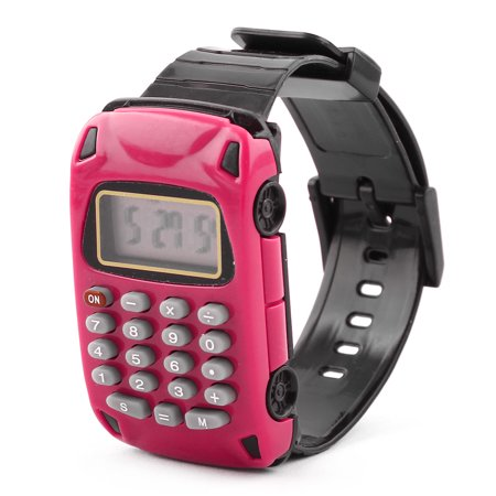 (School Detachable Wristband Watch Car Design 8 Digit Electronic Calculator Pink)