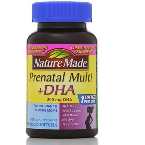 Nature Made Prenatal Multi + DHA, Liquid Softgels 60 ea (Pack of 3)